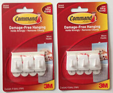 6 x 3M Command Micro Hooks 3 x 2 Packs  Hold up to 225g Damage Free Hooks