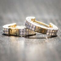 Two Tone Gold Fully Iced Small Sterling Silver Huggie Cz Men's Hoop Earrings