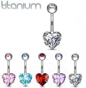 Implant Grade **TITANIUM** Prong Set CZ Heart Belly Bar Navel Piercing Ring G23