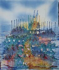 PESCE BARCA PITTURA doppio processo Batik arte astratta di ottima qualità.
