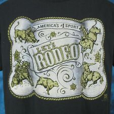 vintage 80s Cowboy Let'S Rodeo Paper Thin T-Shirt Large horse bull buckle Nos