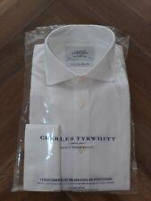 Charles Tyrwhitt Men's White Shirt 15/34in Non Iron Twill Cutaway Slim Fit
