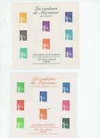 4 blocs feuillets neufs luxe les couleurs de Mariane 2001/02