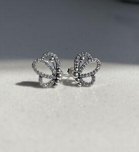 💫PANDORA Sparkling Openwork Butterfly Stud Earrings-ALE 925s-297912CZ 🇬🇧💫