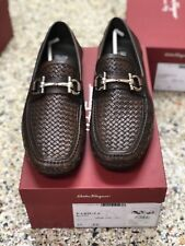 Salvatore Ferragamo Parigi Woven Bit Brown Moccasin Men's Shoe US SZ 8.5 D New