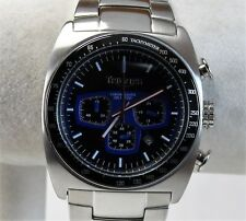 Triumph Men's Sports Watch, Stainless Steel Case, Black/Blue Chrono Dial