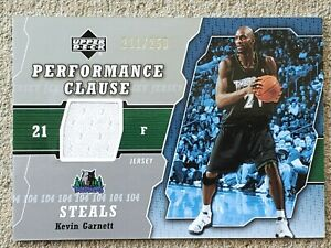 KEVIN GARNETT 2005-06 Upper Deck PERFORMANCE CLAUSE Game-Used GU #ED /250 Card