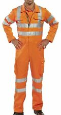"""B-Seen RAIL SPEC Hi Vis Safety Coverall With Cargo Pockets Teflon Coating 38"""""""
