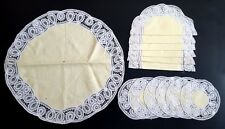 Antique Vintage set of 13 Yellow Irish Linen Table Mats Doilies Tablecloth
