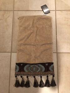 NWT CROSCILL TAN AQUA BLUE BEAD DAMASK WAVES FRINGE FINGERTIP HAND TOWEL 11 X 18