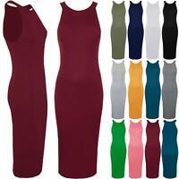 Womens Ladies Plain Ribbed Round Neck Sleeveless Stretchy Bodycon Fit Midi Dress