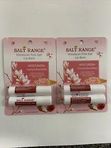 Salt Range Himalayan Pink Salt Moisturizing Lip Balm Cherry & Shea Butter 2 x 2
