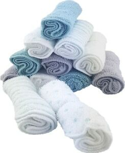 Waschtücher Baby Waschlappen Handtücher 100% Baumwolle - 12stück - Mint/Grau