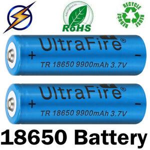 2pcs 3.7V 18650Li-ion Battery 9900mAh Rechargeable Batteries + LED Flashlight-