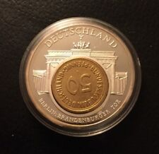European Currencies Deutschland 2001 Brandenburger Tor Berlin 50 Pfennig Inlay