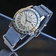 Rare Early Glycine Airman Stainless Steel Silver Dial Man's 24 hour Watch