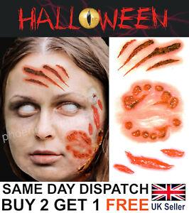 Halloween Zombie Bite Scars Tattoos Fake Blood Cuts Scar Wound Make-Up Kit UK