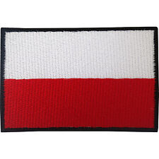 Polish Flag Patch Iron On Badge / Sew On Poland Flag Embroidered Applique Motif
