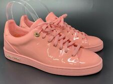 Authentic LOUIS VUITTON Logo Patent Leather Sneakers Pink Size 38 US 8 Rank AA