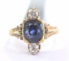 18Kt Vintage Gem Ceylon Sapphire Old Mine Cut Diamond Yellow Gold Ring 2.80Ct