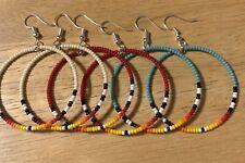 """3 Pr Native American Style 1.5""""Long Beaded Hoop Earrings"""