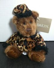 "NWT RARE Applause Dakin ""Chelsea"" Sitting Teddy Bear Cheetah Print Coat Plush!!!"