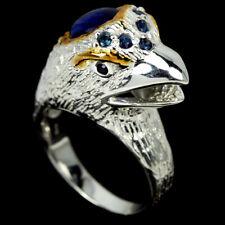 GENUINE BLUE KYANITE CABOCHON & SAPPHIRE STERLING 925 SILVER 2-TONE BIRD RING 7