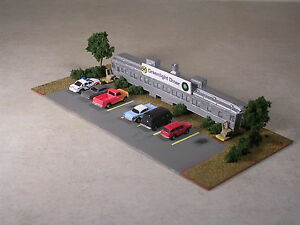 N Scale Trackside Cafe in Pullman Passenger Car with Autos and Pickups.