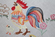 Rainbow Rooster Crows At Sunrise + Baby Chicks! Vtg German Easter Tablecloth