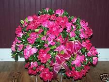 Hot Pink Azaleas Silk Tombstone Saddle Grave Cemetery Silk Flower Spray Basket