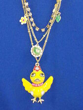 Betsey Johnson Goldtone Garden Party Yellow Chickadee Bird Layer Necklace $58