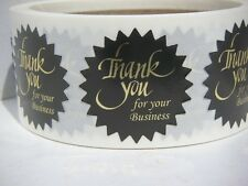 "Thank You For Your Business Label 1 1/2"" Starburst Gold letter black bkg 250/rl"