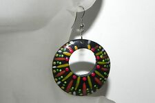 Hand Painted Wooden Earrings Vibrant Colors Stainless Steel Hooks