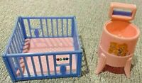 Lot of 2 Renewal Products Plastic Doll House Furniture Crib Vintage Washer