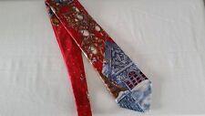 ROOSTER Santa Claus w/Sleigh & Reindeer on Rooftop 100% Silk Christmas Tie
