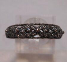 Vintage Antique Estate~Sterling Silver Marcasite Flower & Dot Design Ring Sz 9