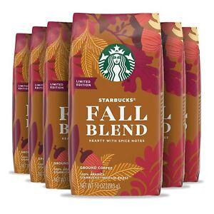 LOT OF 6 Starbucks Medium Roast Fall Blend Ground Coffee (10 oz. each) EXP3/6/21