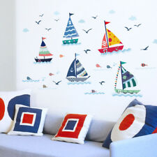 Nautical Sail Boat / Ship /Anchor/ Whales/ Flag Nursery Baby Wall Decal Sticker