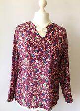 PATRA Ladies 100% Silk Maroon Floral Oriental Artisan Blouse Work Autumn 12 14