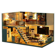 More details for led loft apartments dollhouse miniature wooden furniture kit doll house diy gift