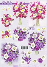 Flower Bouquets 3D Decoupage Sheet Card Making Paper Crafts *CUTTING REQUIRED*