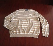New Polo Ralph Lauren Luxury 100% Pima Cotton V Neck Jumper Camel Ivory Men's L
