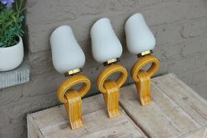 Set 3 Retro Ceramic yellow 1950s opaline glass  wall lights sconces VALLAURIS