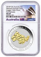 2019P Australia 1 oz Silver Gilt Nugget Welcome Stranger $1 NGC MS69 FR SKU58587