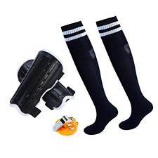 Soccer Gear For Boys 7-12, Shin Guards Knee Socks With A Stainless Steel Whistle
