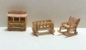 Dollhouse Miniature 1:144 Scale Traditional Nursery Room Furniture Kit (3 Pc)