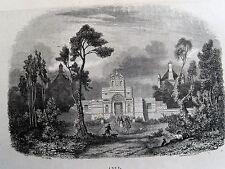 Bi1-10 Gravure 1845 chateaux historiques par Théodore Frère - Anet