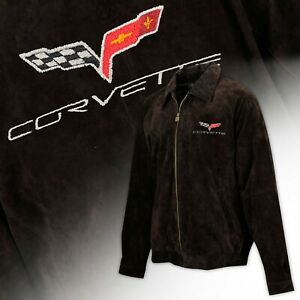 2005-2013 Corvette C6 Logo Men's Regular Length Suede Bomber Jacket