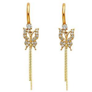 14k Yellow Gold - Butterfly Chain CZ Dangle Drop Earrings Latch Back for Women