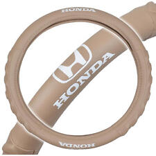 "Honda Steering Wheel Cover 14.5""-15.5"" Beige Odorless Synthetic Leather Grip"